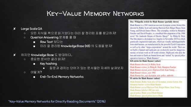 """Key-Value Memory Networks """"Key-Value Memory Networks for Directly Reading Documents"""" (2016)"""