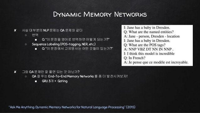 """Dynamic Memory Networks """"Ask Me Anything: Dynamic Memory Networks for Natural Language Processing"""" (2015)"""