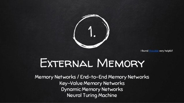 1. External Memory Memory Networks / End-to-End Memory Networks Key-Value Memory Networks Dynamic Memory Networks Neural T...