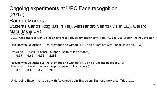 Deep Learning for Computer Vision: Face Recognition (UPC 2016)