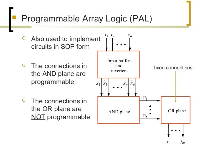  Programmable Array Logic (PAL)  Also used to implement circuits in SOP form  The connections in the AND plane are prog...