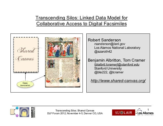 Transcending Silos: Linked Data Model forCollaborative Access to Digital Facsimiles                                     Ro...