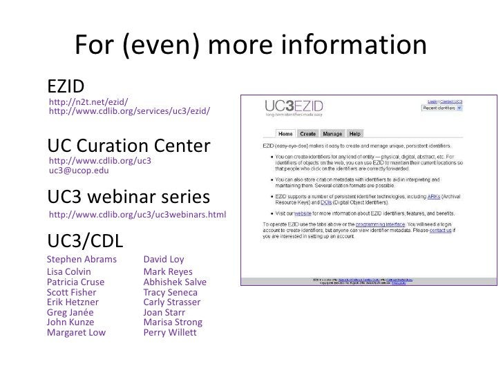 EZID: Easy Persistent Identifiers and Data Citation