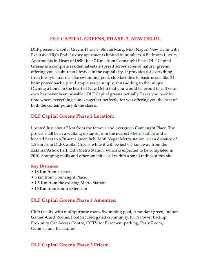 DLF CAPITAL GREENS, PHASE- 3, NEW DELHI.  DLF presents Capital Greens Phase 3, Shivaji Marg, Moti Nagar, New Delhi with Ex...
