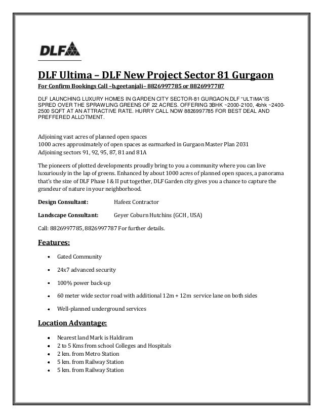 DLF Ultima – DLF New Project Sector 81 GurgaonFor Confirm Bookings Call –b.geetanjali– 8826997785 or 8826997787DLF LAUNCHI...