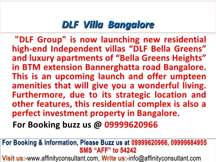 """DLF Villa Bangalore    """"DLF Group"""" is now launching new residential   high-end Independent villas """"DLF Bella Greens""""   and..."""