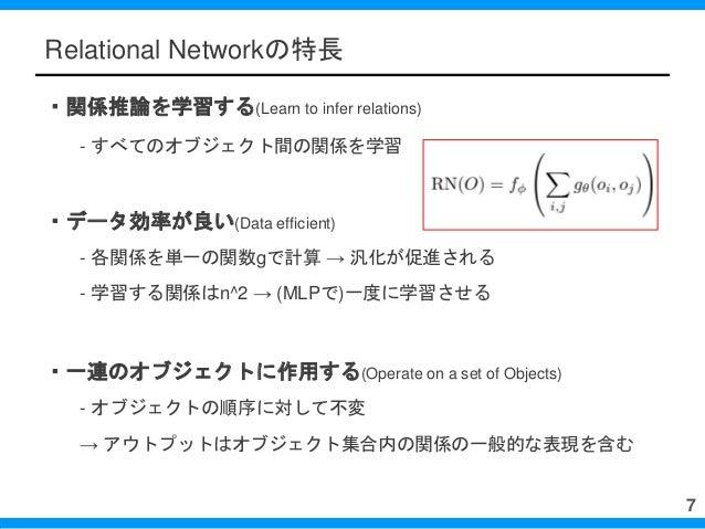 Relational Networkの特長 ・関係推論を学習する(Learn to infer relations) - すべてのオブジェクト間の関係を学習 ・データ効率が良い(Data efficient) - 各関係を単一の関数gで計算 →...