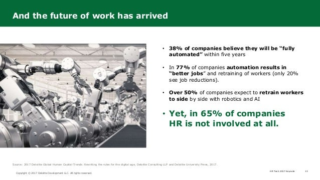 HR Tech 2017 Keynote 13 Copyright © 2017 Deloitte Development LLC. All rights reserved. • 38% of companies believe they wi...