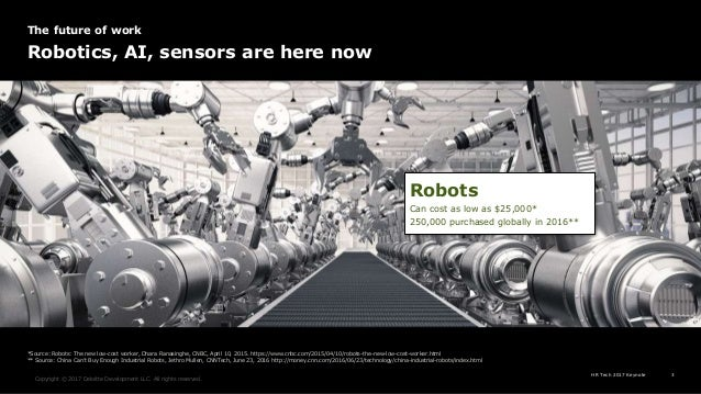 HR Tech 2017 Keynote 3 Copyright © 2017 Deloitte Development LLC. All rights reserved. Robots Can cost as low as $25,000* ...