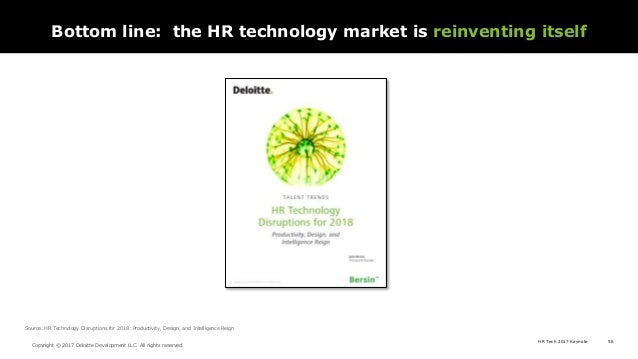 HR Tech 2017 Keynote 56 Copyright © 2017 Deloitte Development LLC. All rights reserved. Source: HR Technology Disruptions ...