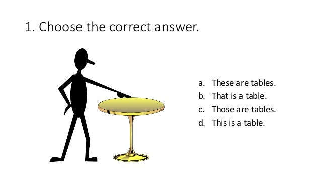 1. Choose the correct answer. a. These are tables. b. That is a table. c. Those are tables. d. This is a table.