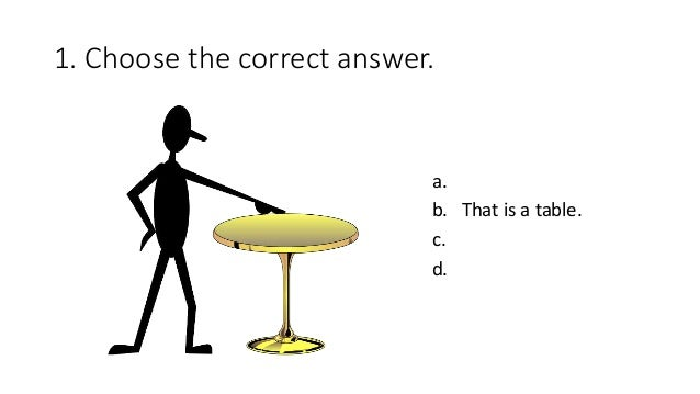 1. Choose the correct answer. a. b. That is a table. c. d.