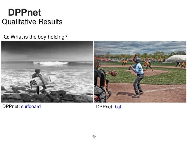 DPPnet 171 Qualitative Results Q: What animal is shown? DPPnet: giraffe DPPnet: elephant