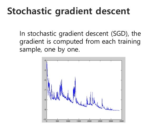 Stochastic gradient descent In stochastic gradient descent (SGD), the gradient is computed from each training sample, one ...