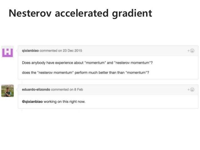 Nesterov accelerated gradient