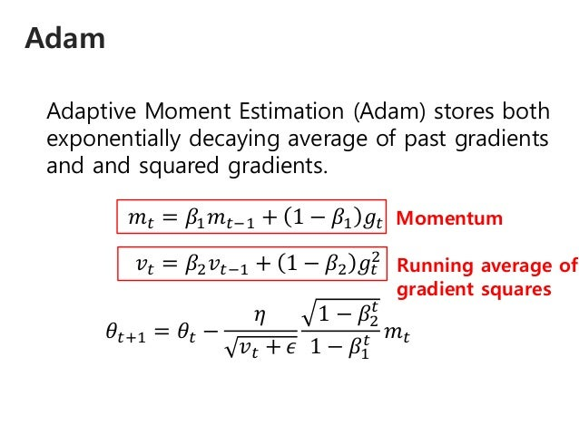 Adam Adaptive Moment Estimation (Adam) stores both exponentially decaying average of past gradients and and squared gradie...