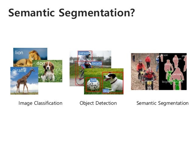 Semantic Segmentation? lion dog giraffe Image Classification bicycle person ball dog Object Detection person person person...