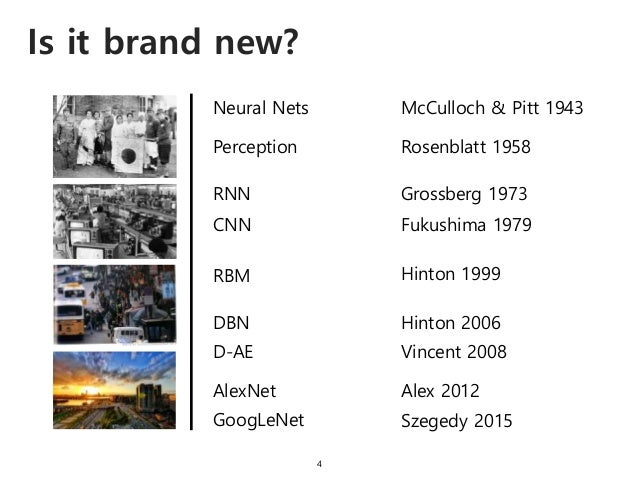 Is it brand new? 4 Neural Nets McCulloch & Pitt 1943 Perception Rosenblatt 1958 RNN Grossberg 1973 CNN Fukushima 1979 RBM ...