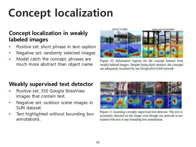 Concept localization 85 Concept localization in weakly labeled images • Positive set: short phrase in text caption • Negat...