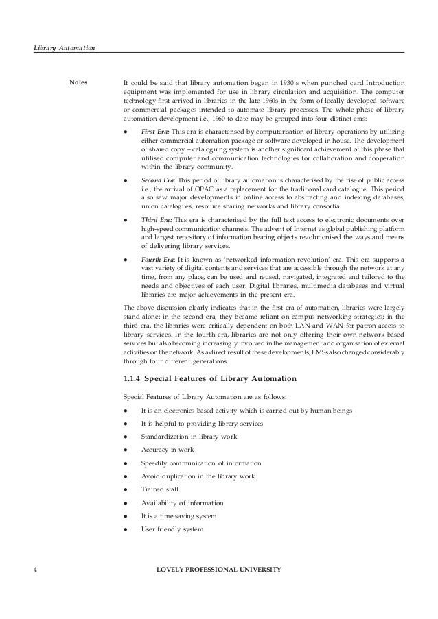 LOVELY PROFESSIONAL UNIVERSITY 5 Unit 1: Library Automation: An Overview Notes1.1.5 Advantages of Library Automation Advan...