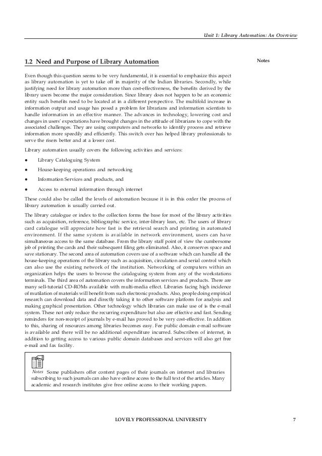 8 LOVELY PROFESSIONAL UNIVERSITY Library Automation Notes Automation can increase staff productivity. Staff can assist pat...