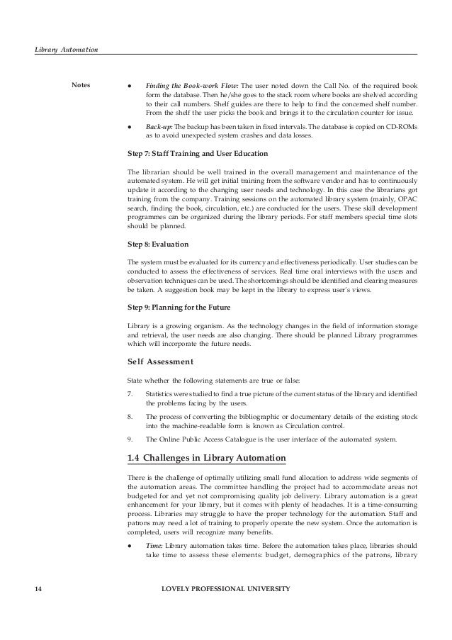 LOVELY PROFESSIONAL UNIVERSITY 15 Unit 1: Library Automation: An Overview Notesenvironment, collection and available equip...