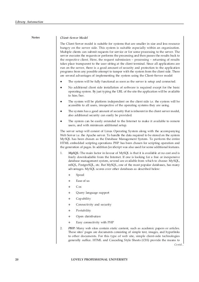 LOVELY PROFESSIONAL UNIVERSITY 21 Unit 1: Library Automation: An Overview Notesstructure and present page content, and Jav...