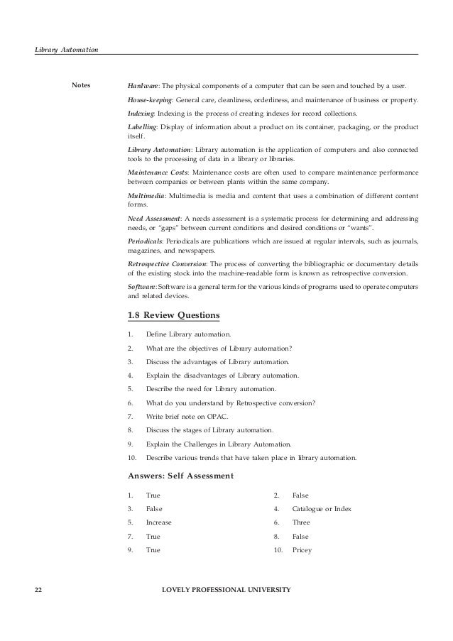LOVELY PROFESSIONAL UNIVERSITY 23 Unit 1: Library Automation: An Overview Notes11. Training 12. Circulation 13. False 14. ...