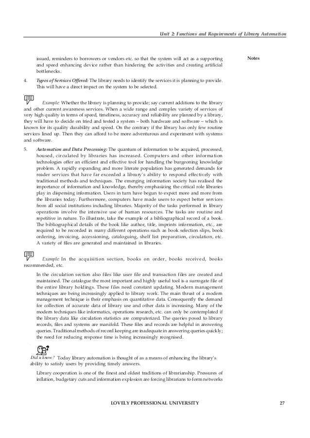28 LOVELY PROFESSIONAL UNIVERSITY Library Automation Notes and consortia with a view to resource sharing, the use of moder...