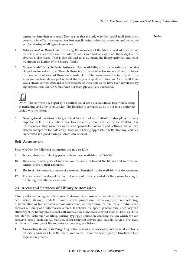 30 LOVELY PROFESSIONAL UNIVERSITY Library Automation Notes Suggestion, recommendations and selection of library collection...
