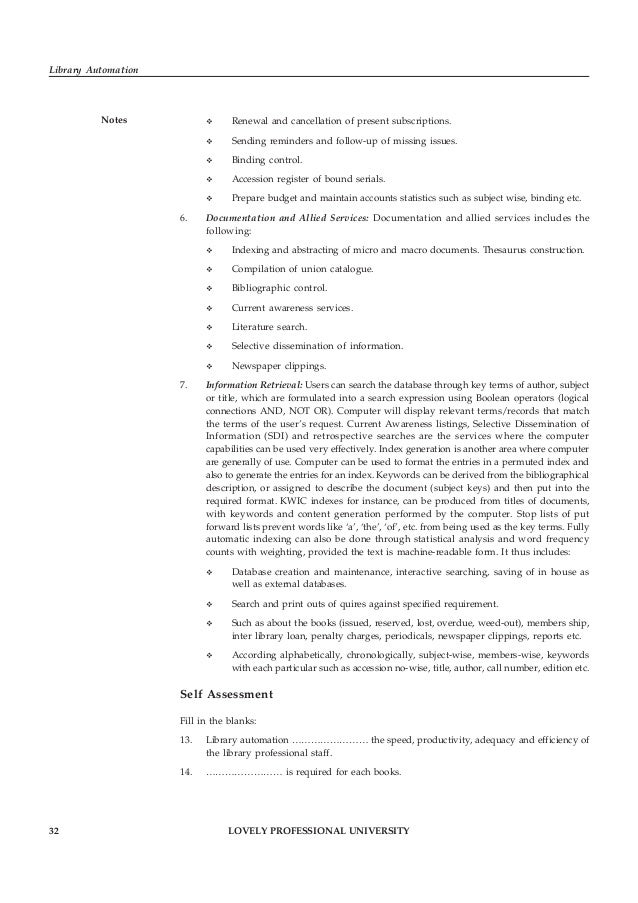 LOVELY PROFESSIONAL UNIVERSITY 33 Unit 2: Functions and Requirements of Library Automation Notes15. In circulation control...