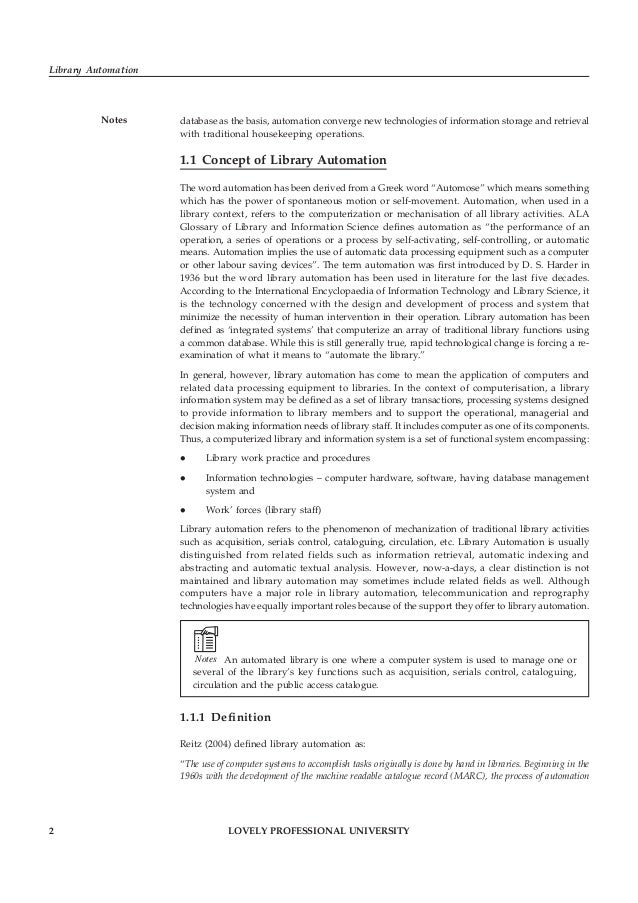 LOVELY PROFESSIONAL UNIVERSITY 3 Unit 1: Library Automation: An Overview Noteshas expanded to include the core functions o...
