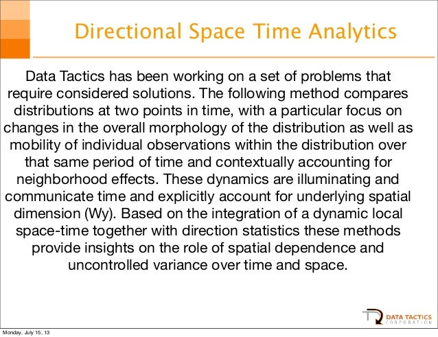 Directional Space Time Analytics Data Tactics has been working on a set of problems that require considered solutions. The...
