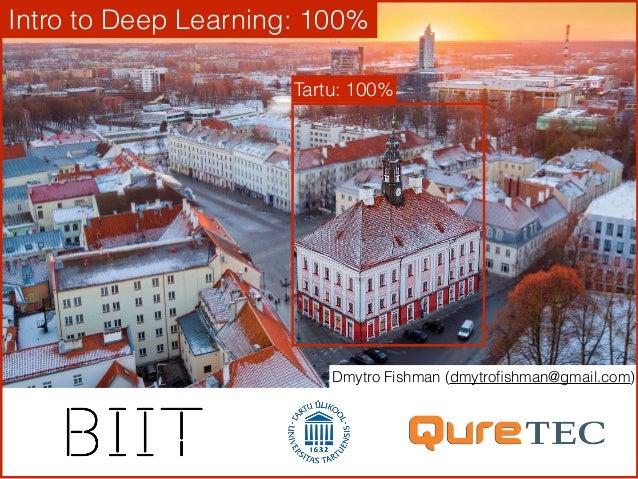 Dmytro Fishman (dmytrofishman@gmail.com) Intro to Deep Learning: 100% Tartu: 100%