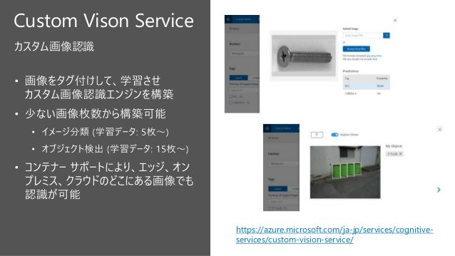 """Cognitive Services の発展 20182017 """"Custom"""" Services """"For Edge"""" Services 20162015 Project-Base Debut! 2019 Business Data Anal..."""