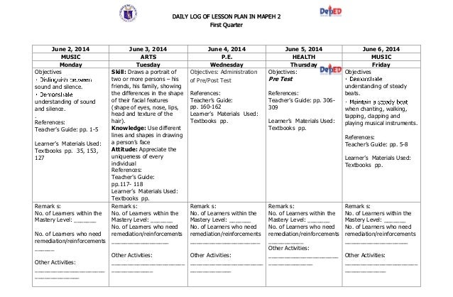 DAILY LOG OF LESSON PLAN IN MAPEH 2 First Quarter June 2, 2014 June 3, 2014 June 4, 2014 June 5, 2014 June 6, 2014 MUSIC A...