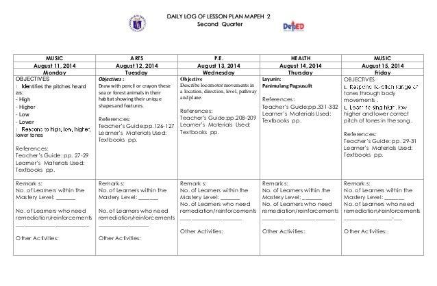 Sample Daily Log Daily Log K To 12 Grade 2 Dll Mapeh Q1 Q4