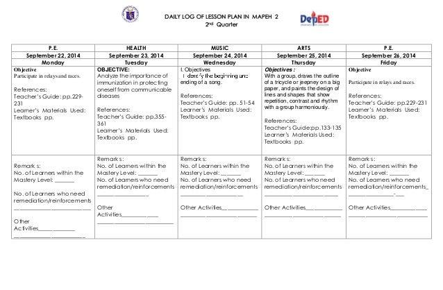 K To 12 Grade 2 Dll Mapeh (Q1 – Q4) – Q4)