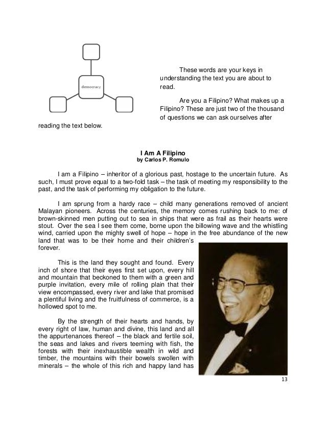 i am a filipino essay