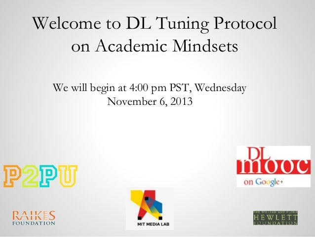 Welcome to DL Tuning Protocol on Academic Mindsets We will begin at 4:00 pm PST, Wednesday November 6, 2013