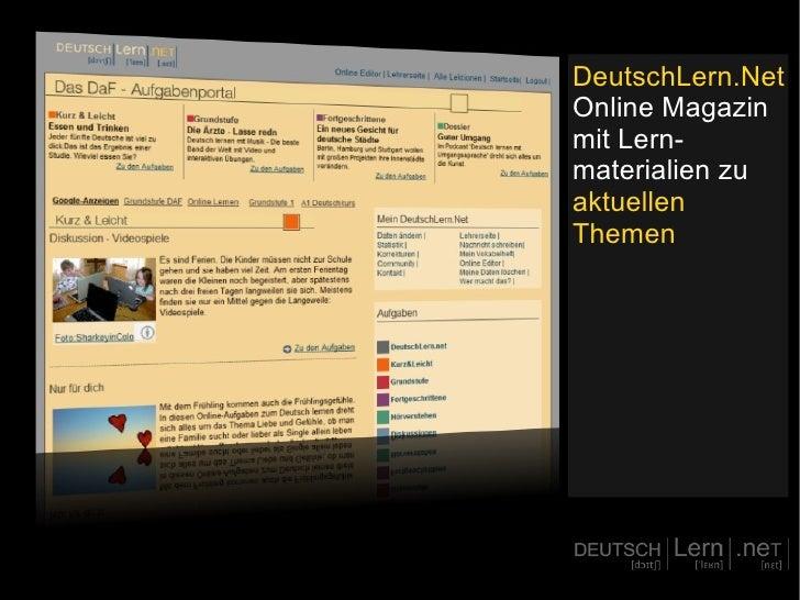 DeutschLern.Net Online Magazin mit Lern-materialien zu  aktuellen Themen