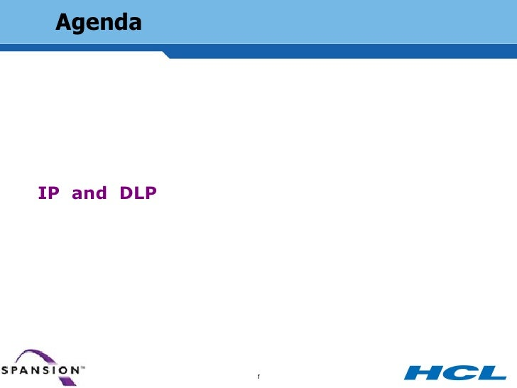 Agenda     IP and DLP Management and the Data Security System Information Risk  Agenda                             1