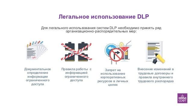 Легальное использование DLP Документальное определение информации ограниченного доступа Правила работы с информацией огран...