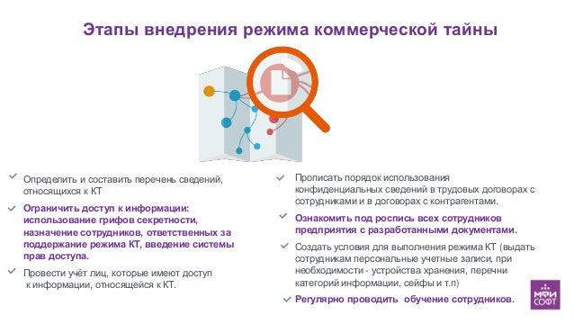 Этапы внедрения режима коммерческой тайны Определить и составить перечень сведений, относящихся к КТ Ограничить доступ к и...