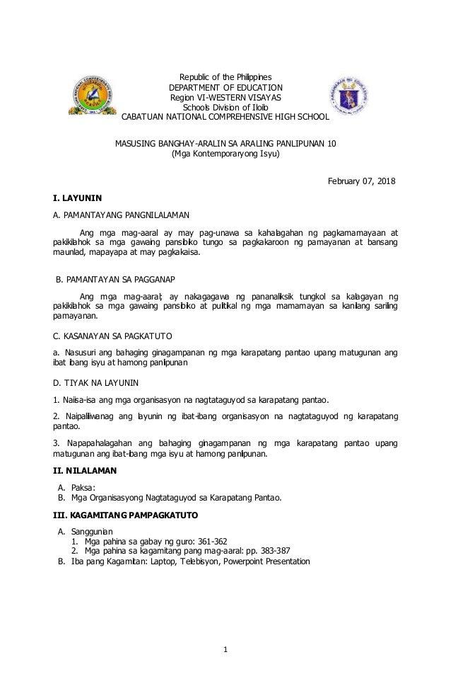 1 Republic of the Philippines DEPARTMENT OF EDUCATION Region VI-WESTERN VISAYAS Schools Division of Iloilo CABATUAN NATION...