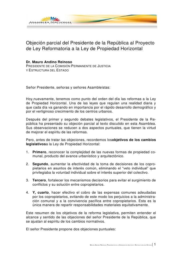 Objeción parcial del Presidente de la República al Proyectode Ley Reformatoria a la Ley de Propiedad HorizontalDr. Mauro A...