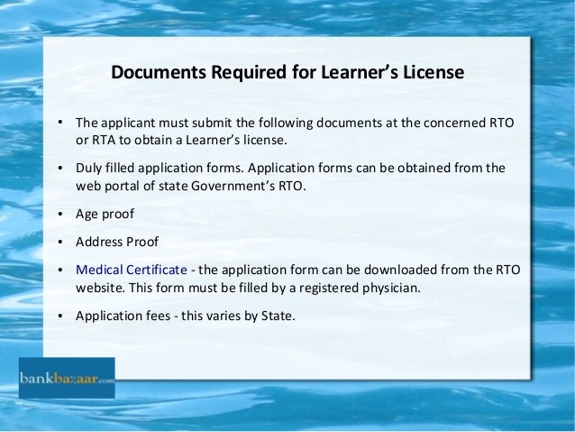 ppt on driving license With documents upload for learning licence