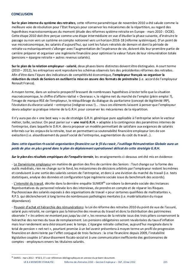 These Pro Grh Conclusion Reforme Retraite 2010 E P La Sorbonne