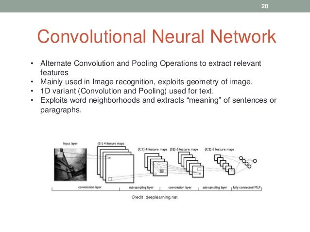 Convolutional Neural Network • Alternate Convolution and Pooling Operations to extract relevant features • Mainly used in ...