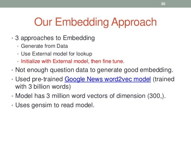 Our Embedding Approach • 3 approaches to Embedding • Generate from Data • Use External model for lookup • Initialize with ...
